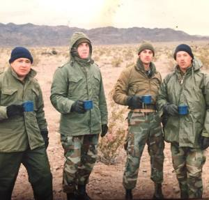 29 Palms, Calif., early 1987. From left, 1stSgt Madero, Capt. JD Gaillard, me, 1stLt Dave Booth. Another Marine Corps morning in the field.